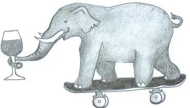 Elephant enjoying a glass of Burgundy while skateboarding
